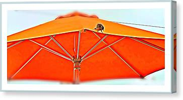Canvas Print featuring the digital art Joy On An Umbrella by Mindy Newman