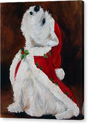 Christmas Dog Canvas Print - Joy To The World by Mary Sparrow