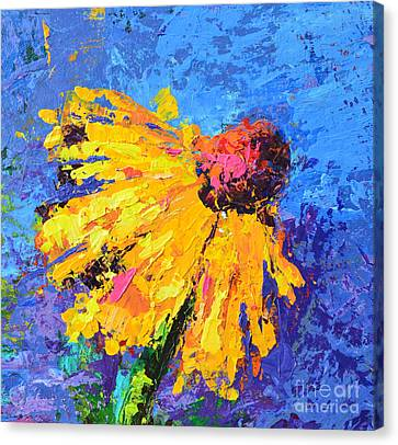 Joyful Reminder Modern Impressionist Floral Still Life Palette Knife Work Canvas Print