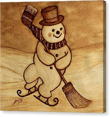Joyful Snowman  Coffee Paintings Canvas Print by Georgeta  Blanaru