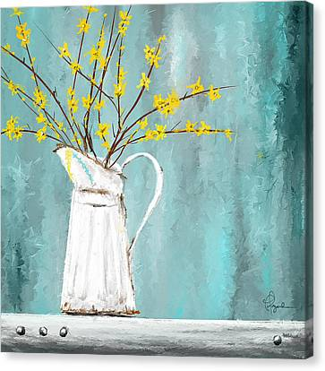 Joys Of Bloom - Forsythia Art Canvas Print