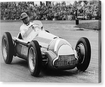 Fifties Automobile Canvas Print - Juan Manuel Fangio  by French School