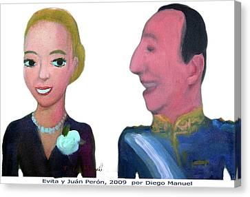 Juan Peron Y Eva Peron Canvas Print by Diego Manuel
