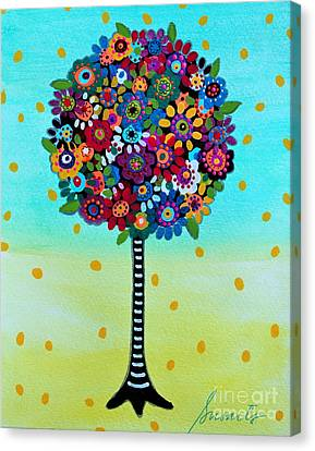 Canvas Print featuring the painting Jubilant Tree Of Life by Pristine Cartera Turkus