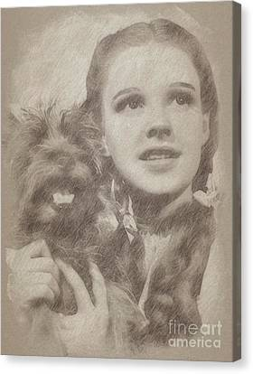 Noir Canvas Print - Judy Garland Vintage Hollywood Actress As Dorothy In The Wizard Of Oz by Frank Falcon