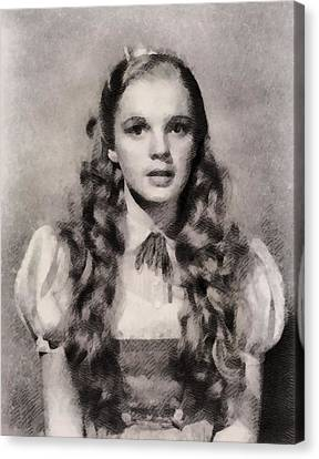 Judy Garland Vintage Hollywood Actress As Dorothy In The Wizard Of Oz Canvas Print by John Springfield