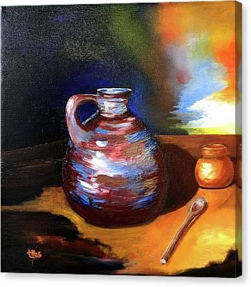 Jug Mug And Spoon Canvas Print