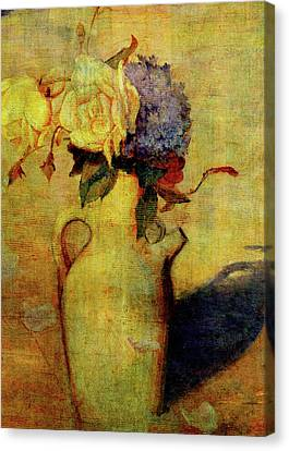 Jug With Yellow And Violet Flowers Canvas Print by Sarah Vernon