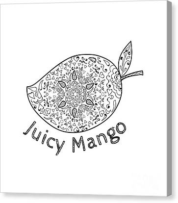 Juicy Mango Black And White Mandala  Canvas Print