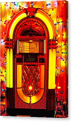 Juke Box With Christmas Lights Canvas Print by Garry Gay
