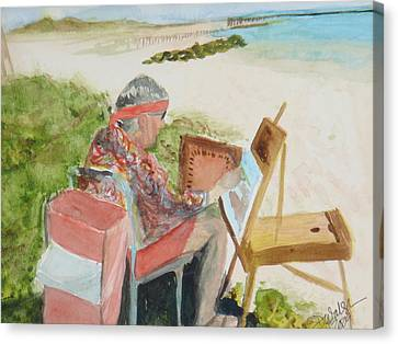 Canvas Print featuring the painting Julia Painting At Boynton Inlet Beach  by Donna Walsh