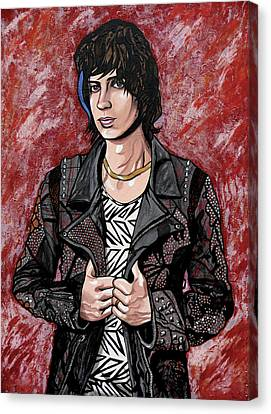 Canvas Print featuring the painting Julian Casablancas Red by Sarah Crumpler