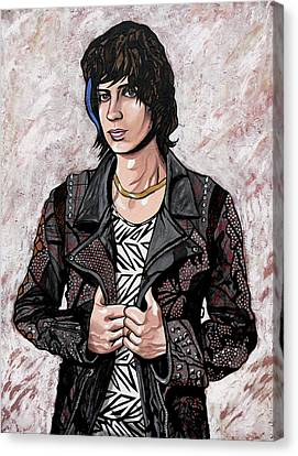 Canvas Print featuring the painting Julian Casablancas White by Sarah Crumpler