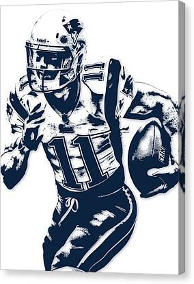 Julian Edelman New England Patriots Pixel Art 2 Canvas Print by Joe Hamilton