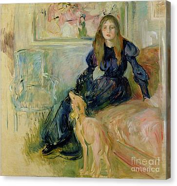 Julie Manet And Her Greyhound Laerte Canvas Print by Berthe Morisot