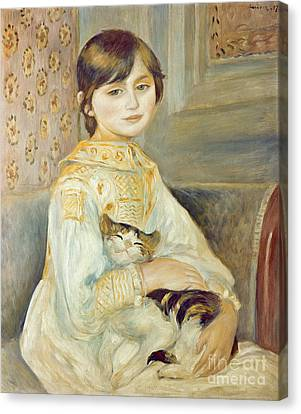 Julie Manet With Cat Canvas Print by Pierre Auguste Renoir