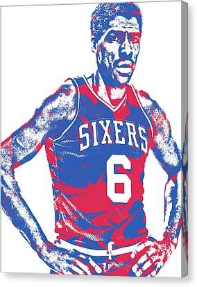 Julius Erving Canvas Print - Julius Erving Philadelphia Sixers Pixel Art 1 by Joe Hamilton