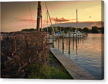 Crab Pots And Sailboats Canvas Print