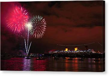 July 4th Fireworks - Long Beach California Canvas Print by Ram Vasudev