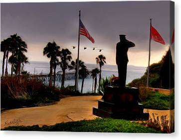 July 4th San Clemente Flyover Canvas Print by Barbara Radcliffe