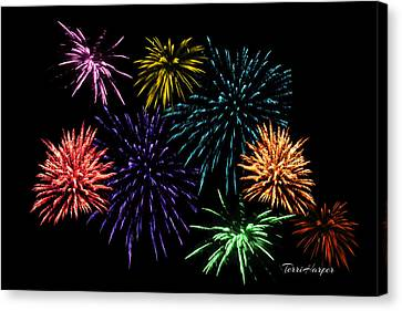 July Fireworks Montage Canvas Print by Terri Harper