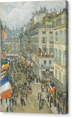 July Fourteenth, Rue Daunou Canvas Print by Childe Hassam