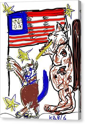 4th July Canvas Print - July -- Patriot Cats Parade by Kathy Barney