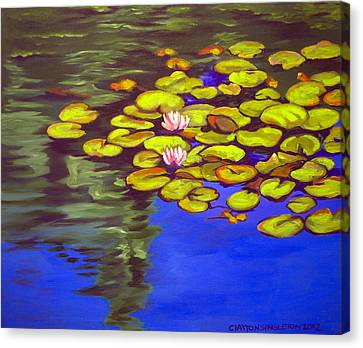 July Waterlilies Canvas Print by Clayton Singleton