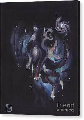 Jumping Dog Constellation Canvas Print by Robin Wiesneth