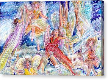 Jumping For Joy Angels Canvas Print by Laurie Parker