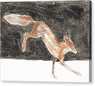 Jumping Fox In The Snow Canvas Print by Sophy White