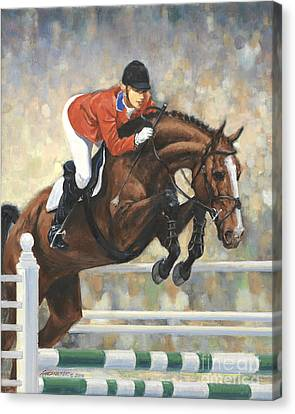 Jumping Horse Canvas Print - Jumping Horse And Girl by Don Langeneckert