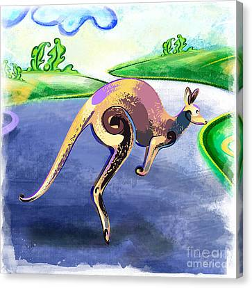 Jumping Kangaroo Canvas Print by Bedros Awak