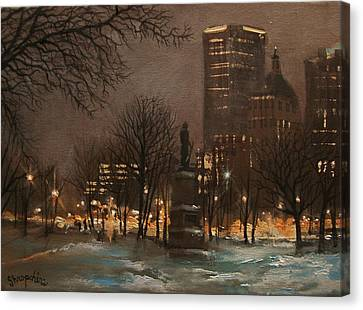 Snow Scene Canvas Print - Juneau Park Milwaukee by Tom Shropshire