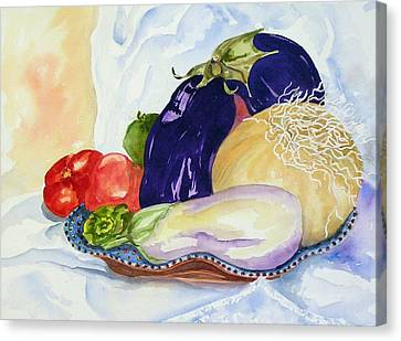 Canvas Print featuring the painting June's Veggies by Pat Crowther