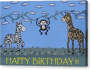 Jungle Animals Happy Birthday Canvas Print by Suzanne Theis