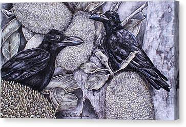 Jungle Crows On Jackfruit Canvas Print by Trish Taylor Ponappa