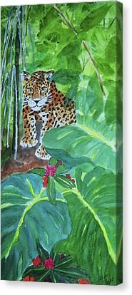 Canvas Print featuring the painting Jungle Jaguar by Ellen Levinson