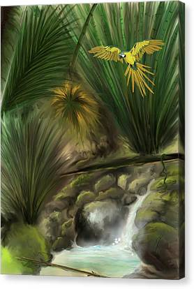 Canvas Print featuring the digital art Jungle Parrot by Darren Cannell