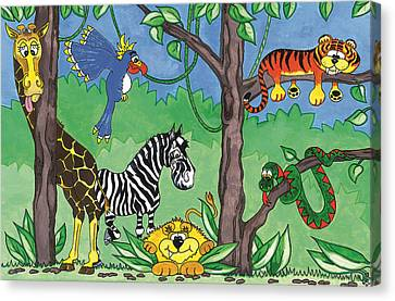 Jungle Party Canvas Print by Kirsty Breaks