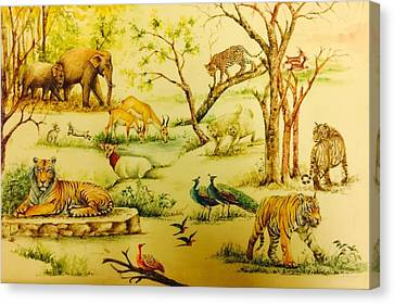 Jungle Scene Canvas Print by Ashok sharma