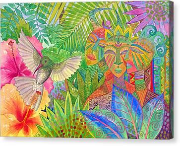 Jungle Spirits And Humming Bird Canvas Print by Jennifer Baird
