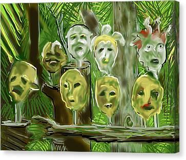Canvas Print featuring the digital art Jungle Spirits by Jean Pacheco Ravinski