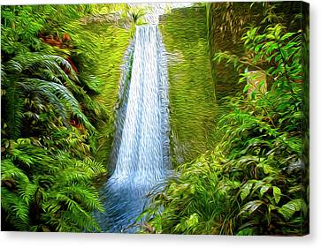 Abstract Water Fall Canvas Print - Jungle Waterfall by Les Cunliffe