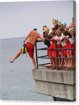 Canvas Print - Junior Guards Pier Jump Huntington Beach California by Linda Queally