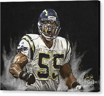 Junior Seau  Canvas Print by Jordan Spector