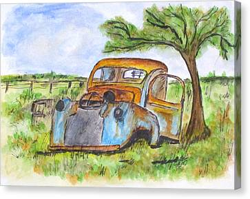 Junk Car And Tree Canvas Print