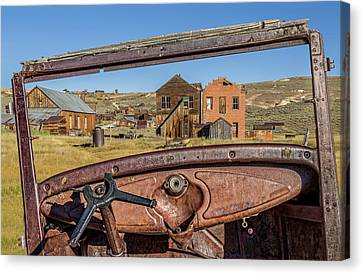 Junk Car Window View Canvas Print