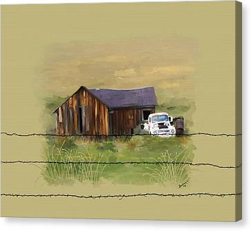 Canvas Print featuring the painting Junk Truck by Susan Kinney
