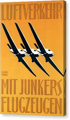 Vintage Airplane Canvas Print - Junkers-flugzeug And Luftverkehr Aircrafts - Vintage Advertising Poster - Minimalist by Studio Grafiikka